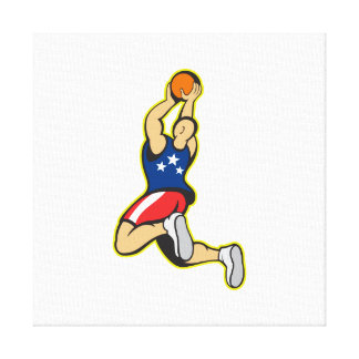 Basketball Player Shooting Jumping Ball Stretched Canvas Print