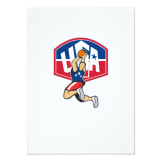 Basketball Player Shooting Jumping Ball 5.5x7.5 Paper Invitation Card