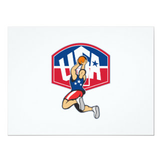 Basketball Player Shooting Jumping Ball 6.5x8.75 Paper Invitation Card