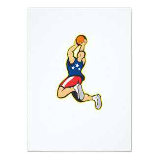 Basketball Player Shooting Jumping Ball 4.5x6.25 Paper Invitation Card