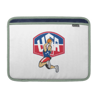 Basketball Player Shooting Jumping Ball MacBook Sleeves