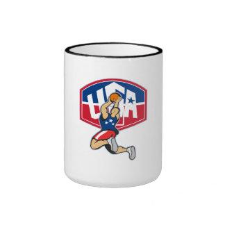 Basketball Player Shooting Jumping Ball Mug