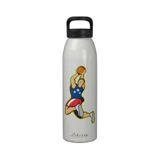 Basketball Player Shooting Jumping Ball Water Bottles
