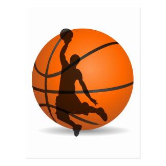 basketball player silhouette pop art postcard