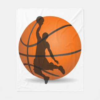 basketball player silhouette sport fleece blanket