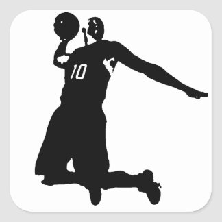 Basketball Player Silhouette Square Sticker