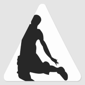 Basketball player silhouette triangle stickers