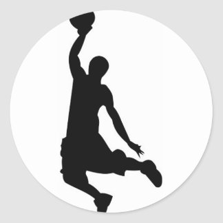 Basketball player silhouette classic round sticker
