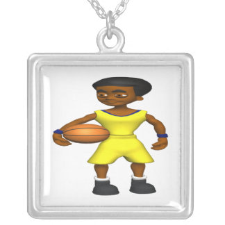 Basketball Player Silver Plated Necklace