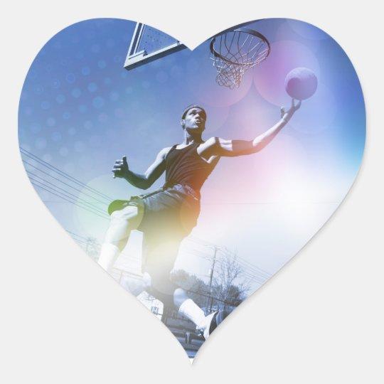 Basketball Player Slam Dunk Heart Sticker