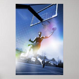 Basketball Player Slam Dunk Poster