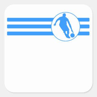 Basketball Player Stripes (Blue) Square Sticker