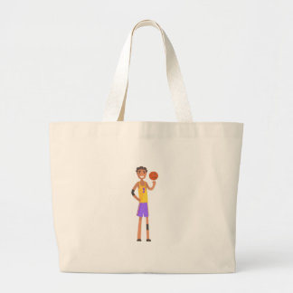 Basketball Player Turning Ball On A Finger Action Large Tote Bag