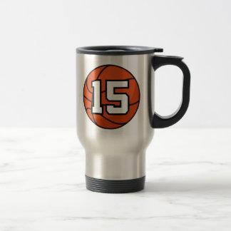 Basketball Player Uniform Number 15 Gift Idea 15 Oz Stainless Steel Travel Mug