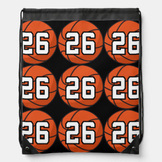 Basketball Player Uniform Number 26 Gift Idea Drawstring Bags
