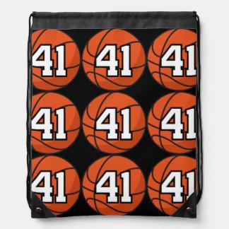 Basketball Player Uniform Number 41 Gift Idea Drawstring Backpacks