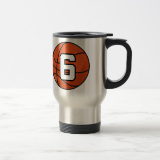 Basketball Player Uniform Number 6 Gift Idea 15 Oz Stainless Steel Travel Mug
