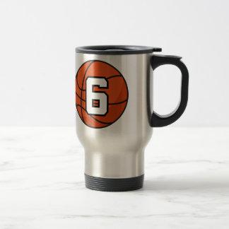 Basketball Player Uniform Number 6 Gift Idea 15 Oz Stainless Steel Travel Mug