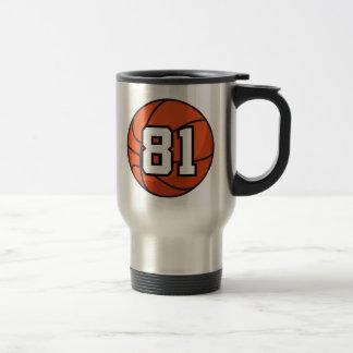 Basketball Player Uniform Number 81 Gift Idea 15 Oz Stainless Steel Travel Mug