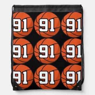 Basketball Player Uniform Number 91 Gift Idea Drawstring Backpacks