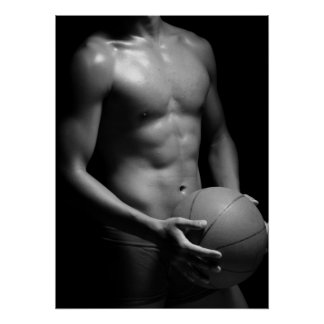 Basketball player W7 in black and white Print