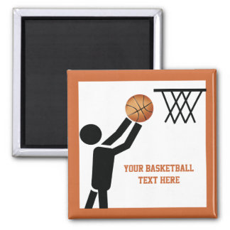 Basketball player with ball custom 2 inch square magnet
