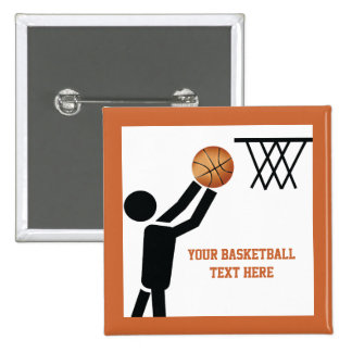 Basketball player with ball custom 2 inch square button