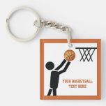Basketball player with ball custom Single-Sided square acrylic keychain