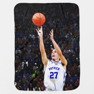 Basketball player custom baby blankets zazzle basketball player with your blue name and number baby blanket negle Choice Image