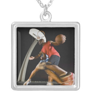 Basketball players 2 silver plated necklace