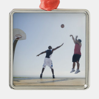 Basketball players 3 metal ornament