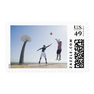 Basketball players 3 postage stamp