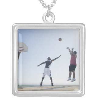 Basketball players 3 square pendant necklace