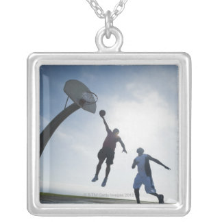 Basketball players 5 square pendant necklace