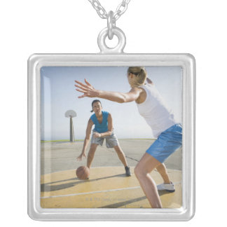 Basketball players 6 square pendant necklace