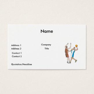 basketball players blocking design business card