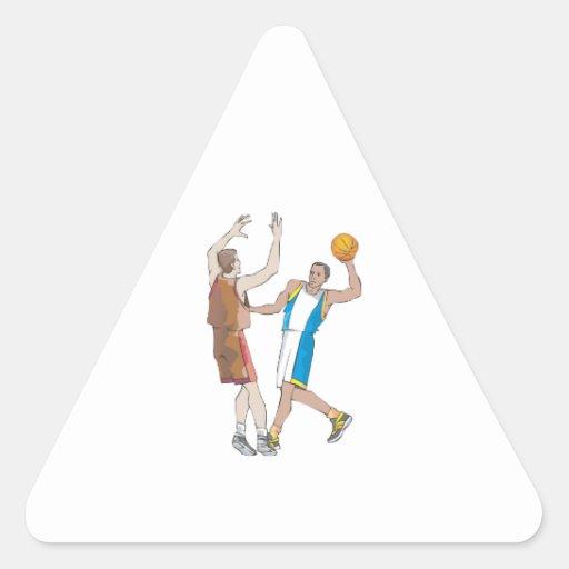 basketball players blocking design triangle sticker