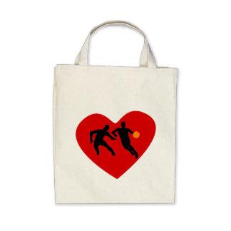 Basketball Players Heart Canvas Bag