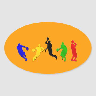 Basketball players hoops   basketball oval stickers