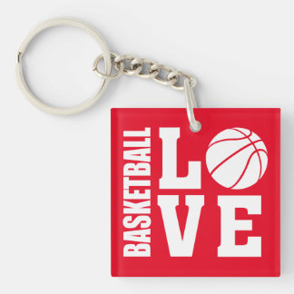 Basketball Players, Red, BASKETBALL LOVE Key Ring