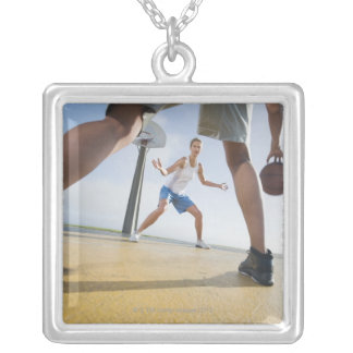 Basketball players silver plated necklace