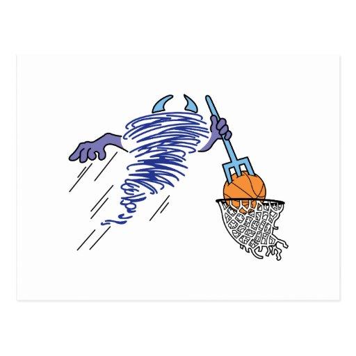 basketball playin dust devil cartoon postcard