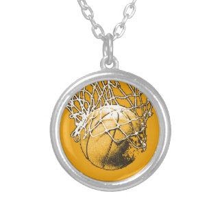 Basketball Pop Art Round Pendant Necklace