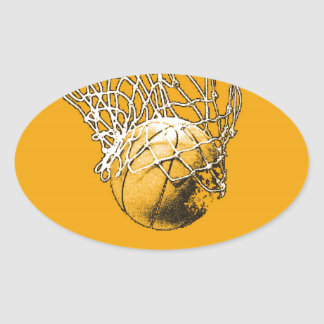 Basketball Pop Art Oval Sticker