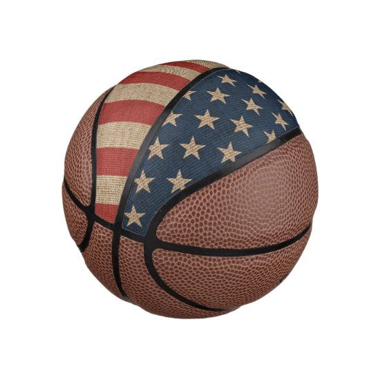 Basketball  print with canvas USA flag