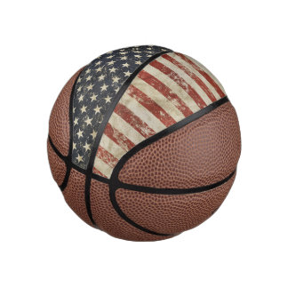 Basketball  print with grunge USA flag