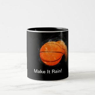 Basketball Rain Customizable Two-Tone Coffee Mug