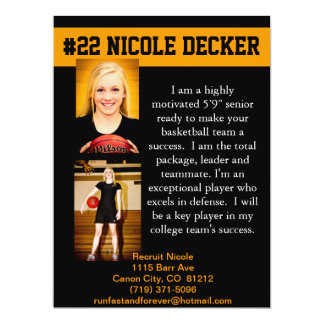 Basketball recruit mailer card