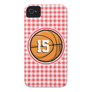 Basketball; Red and White Gingham iPhone 4 Cover