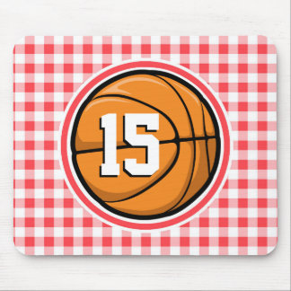 Basketball; Red and White Gingham Mouse Pad